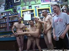 I don't know what the heck these young folks do in this library, but apparently they planned some kind of provocation. Bunch of kinky dude get naked along with a foxy long haired blondie and stay in line in front of cam in gangbang sex video by Pornstar.