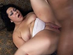 Super hot and busty dark haired whore with big ass sucks massive black dick before she takes it deep in her wet cunt and enjoys hardcore fuck.