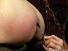 This kinky girl is first time filming in dirty BDSM porn video. She is tied up with no chance to make a move. So the guy pins her skin bringing her pain and pleasure. Then he pumps her perky nipples.