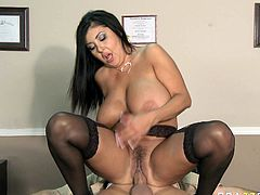 She is a sexy MILF,with big boobs that swing all around when she fucks.Her titties needs to be grabbed while she jumps on a cock as they go swinging around too crazy. Watch her riding a cock in Brazzers Network sex clips.