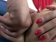 Dirty whore has a really stretched hell working holes. Dude finger fucks her slit and later dumps all his semen in her anus and pussy. Be ready for extremely hot Fame Digital creampie sex video for free.