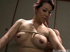 A little fetish never killed nobody! Slutty and super curvy Japanese milf Neko Ayami gets bondaged and her dude fucks her doggy style!