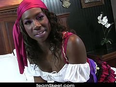 Ebony whore Courtney Williams serves big white cock deep inside her wet black pussy. She was dressed in a kinky costume but she can't wait to strip and insert that hard dick in her cum craving cunt.