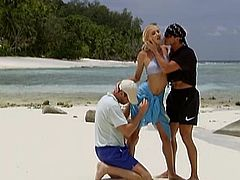 Julie Silver and Sarah Blue take their bikinis off and give hot blowjob to two guys. After that these girls get double penetrated right on the beach.