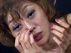 Slim asian beauty gets nailed in pure japanese threesome bukkake porn
