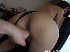 Smoking hot and juicy Japanese siren loves some perversions in the office. Babe gets balled in her mouth and in her leaking pussy!
