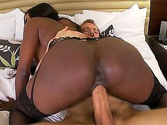 Gorgeous and big ass ebony babe Diamond Jackson enjoys in seducing her hot and pale neighbor Erik Everhard  and sucking and riding his hard rod in her bedroom with passion