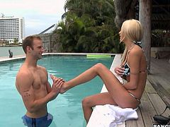 Get a load of this hardcore scene where the beautiful blonde babe Amy Reid is fucked by this guy after exercising and having a dip in the pool.