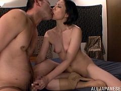 Asian beauty with natural tits and gorgeous face doing missionary and doggystyle until she gets cum in mouth from horny asian guy.
