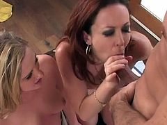 Young hotties decide to share this large dick in one nasty threesome oral