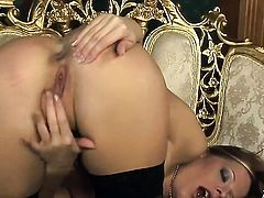 Carmen Gemini groans as she dildo fucks her bush
