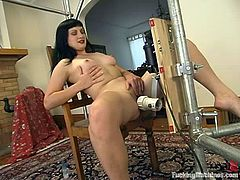 Nasty chick gets toyed hard in the ass by the fucking machine. After that she also gets toyed in her wet vagina.