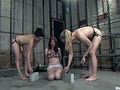 Annette Schwarz, Kendra James and one more slut are playing BDSM games indoors. One of the chicks allows the two other to tie her up and enjoys ardent fingering and toying.