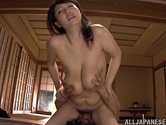 This japanese whore almost does it all with her big tits and horny pussy she fucks missionary and cowgirl, plus the lucky guy gets a titjob.