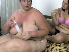 Chubby older granny getting hard orgasm with her younger girlfriend using double dildo. So are you into grannies? Cum inside and check out this nasty scene of old-young lesbian sex.