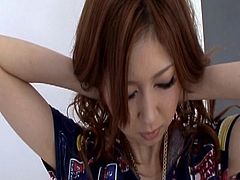 Sexy japanese babe slides a big toy up her hairy twat during naughty solo