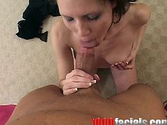 This blowjob video features Jenni Lee, a brunette girl in fishnet outfit sucking and deepthroating with passion.