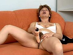 Salacious blonde granny Rose has no one to fuck with, so she has to play with her dildo to get satisfaction. She pleases herself with fingering and then smashes her juicy twat with a dildo.