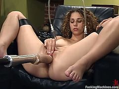 Exotic babe is having some good time indoors. She rubs her delicious pussy and then gets it banged by a fucking machine.