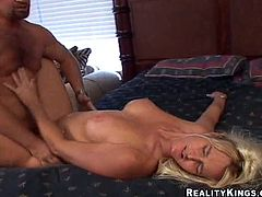 A fuckin' slutty bitch sucks on a hard cock and then gets it shoved balls deep into her fuckin' wet-ass gash, check it out right here!