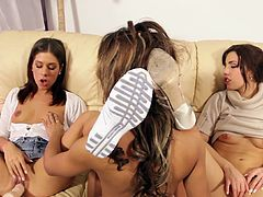 Slutty young babes are feeling amazing during top lesbian masturbation threesome