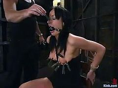 This luxury brunette siren Melissa Lauren is going to be humiliated and fucked hard. She gets an iron hook in her ass and then her master bangs her wet twat hard!