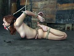 This desirable and slender siren Smokie Flame gets bondaged on the bars and twitched on her nipples. Well, there is a happy end of this BDSM porn scene.