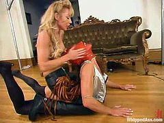 Janay and Kym Wilde play some bondage games in their house. Brownie takes a mask on her head and gets fingered.