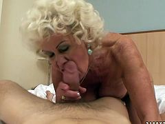 No other slut can please cock with mouth like this old woman does. She sucks her lover's meat stick with great enthusiasm. Then she rides him for a long time switching up positions to get maximum satisfaction.
