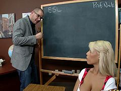 Damn, her gorgeous chest is worth salivating over! Boobalicious Latina bombshell Bridgitte B knows that she is driving her teacher crazy. She sucks his meaty cock greedily like there's no tomorrow.