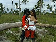 Horny Angel Dark gives a blowjob outdoors. Then she lifts her dress up and gets fucked deep in the ass by a pirate.