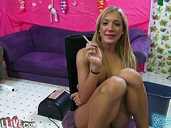 Cute blonde bitch Amy Brooke is having fun with some guy indoors. They fondle each other and fuck in cowgirl position and then Amy gets her pussy toyed to orgasm.