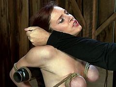 Three horny sex slaves are bound to each other in bondage