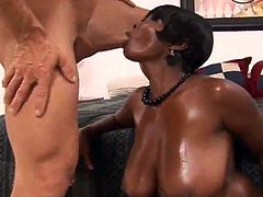 Busty ebony girl Stacy Adams is having a good time with her neighbour. She favours him with a stunning blowjob and then they bang in the reverse cowgirl and other positions.