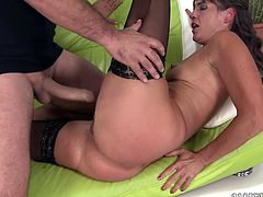 This mature whore needs a crazy, break-the-couch type of fucking. Horny stud tells her to get down on all fours so he can pound her twat in doggy position. He pounds her muff in and out. Then he licks her wet snatch.