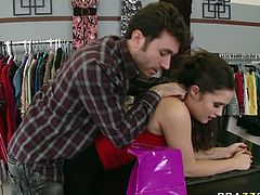 She felt really horny in the morning so her friend wh came to visit her was just on time, to fuck her wet pussy right in the laundry.Watch this horny brunette having an anal sex in the laundry in Brazzers Network sex clips.