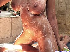 Meet our very special German blonde Madison. Yeah, she's really hot and slutty too! The smoking hot blonde soaps up her body, making sure she has a lot of foam on her big boobs and ass, and then, takes care of her man. Madison slides her body over his and sucks him hard