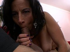 Wild mature with nasty tits loves giving warm oral to one large younger cock