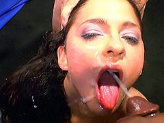 Dirty babes are having loads of piss covering their faces in amazing bukkake porn orgy