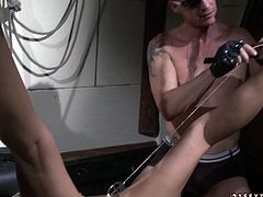This chick knows that she is in for a rough kinky time. Incredibly spoiled blondie is having a hard time with the clover clamps on her pussy lips. Check out this hot BDSM sex scene now and I am kinda sure you will enjoy watching it.