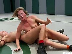 Four crazy chicks fight in a ring and have hot sex