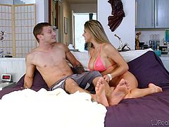 Muscled dude Tommy is happy to share his blonde wife. Tommy has a superb wife, slutty too! At first Pete, her ex boyfriend, doesn't believe, that it's alright to fuck her, but after a more serious chat, things get clear. The babe ends up between two hard cocks, her husbands and Pete's. She loves it!