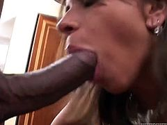 Adorable brunette sucks a BBC before and after taking it in her ass