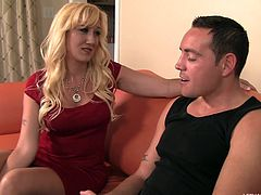 Yep, mom Alana likes to suck cock just as much as she enjoys having a big hard cock in her mouth. The luscious blonde milf has a lot of love and experience to share and Romeo is the perfect guy for her in this situation. She sucks him like a dirty whore and he bends over and gives this bitch his ass for a rimjob!