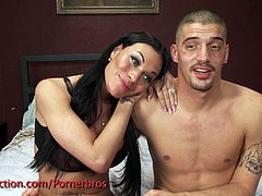 A gorgeous shemale, a beautiful blonde and a guy play all sorts of kinky games, which include barebacking.