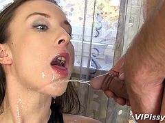 Piss addicted slut Queenie, loves a nice warm jet of urine! She's a sexy slut and that lingerie makes her look even better, making the guy's dick hard. He pisses in her mouth and then, she gives him head, wanting not only his urine, but his cum too!
