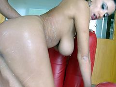 Curvy dark-haired cutie Sensual Jane pours milk on her awesome body and turns her man on. Then she lets the stud eat her pussy and they bang in cowgirl and other positions afterwards.