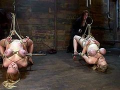 So, today we have this lusty siren Darling and her friend Katie Kox. Both are hungry for pain and they get arched in the suspension, with a tight breast bondage both!