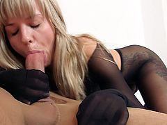 Sweet blonde in black pantyhose gets a big cock up her shaved twat and ass