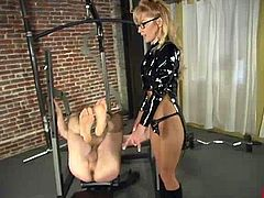 Blonde mistress Janay is playing dirty games with Wild Bill indoors. She makes the guy lick her boots and then destroys his butt with a fucking machine.